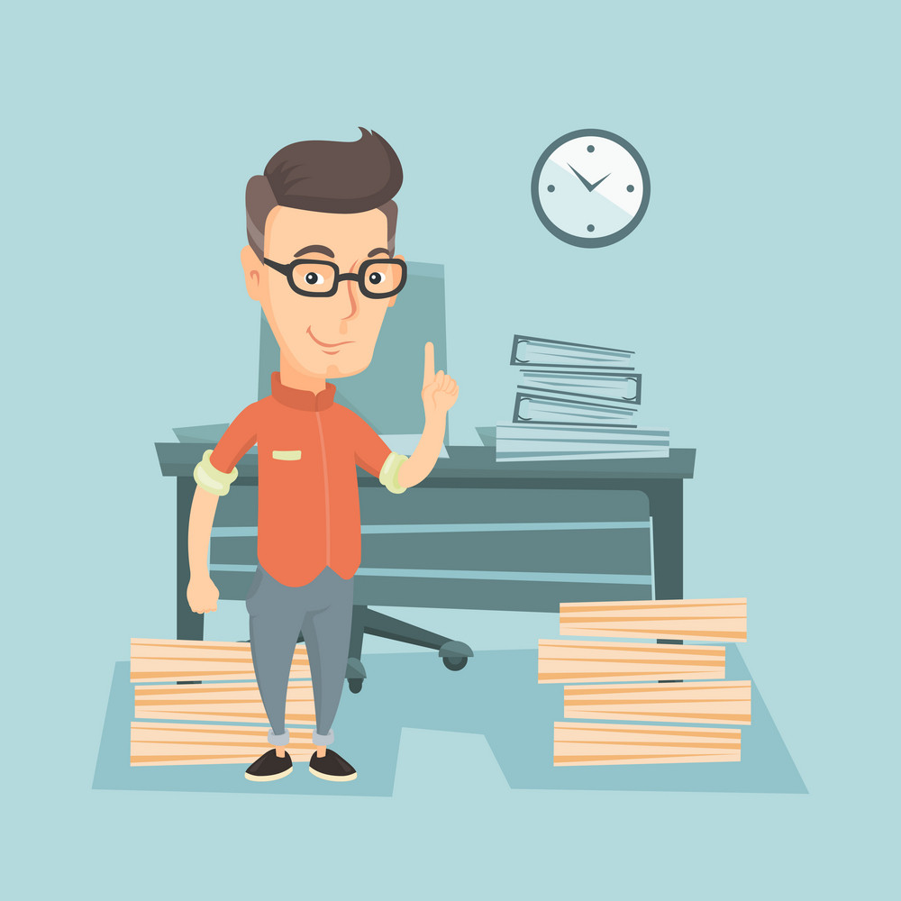 Young caucasian business man in glasses standing in office and pointing at time on clock. Business man working against time. Concept of time management. Vector flat design illustration. Square layout.