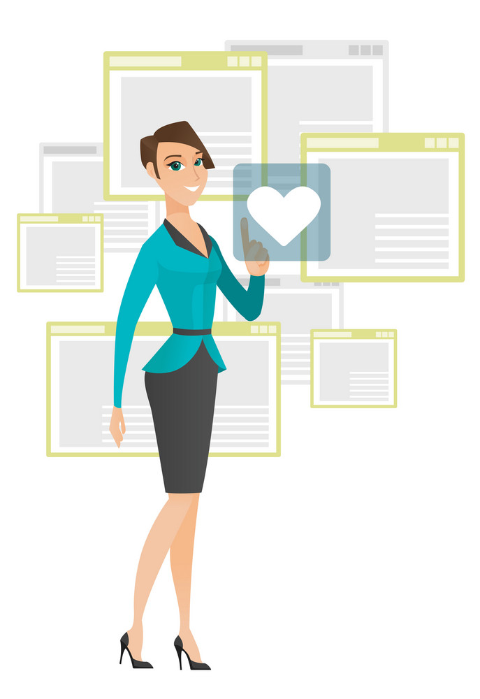 Young caucasian business woman pressing web button with heart. Full length of smiling business woman pressing social media icon with heart. Vector flat design illustration isolated on white background