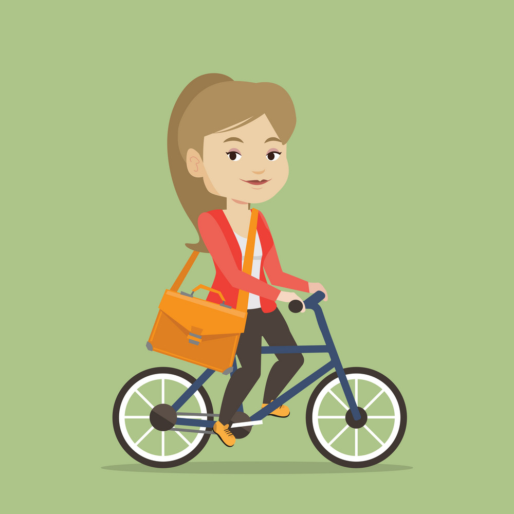 Young caucasian business woman riding a bicycle. Cyclist riding a bicycle. Business woman with briefcase on a bicycle. Healthy lifestyle concept. Vector flat design illustration. Square layout.