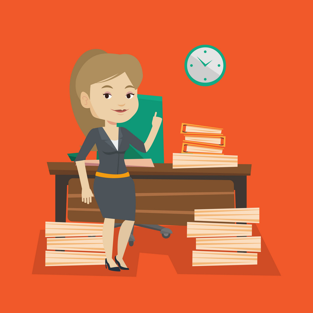 Young caucasian business woman standing in office and pointing at time on clock. Business woman working against time. Concept of time management. Vector flat design illustration. Square layout.