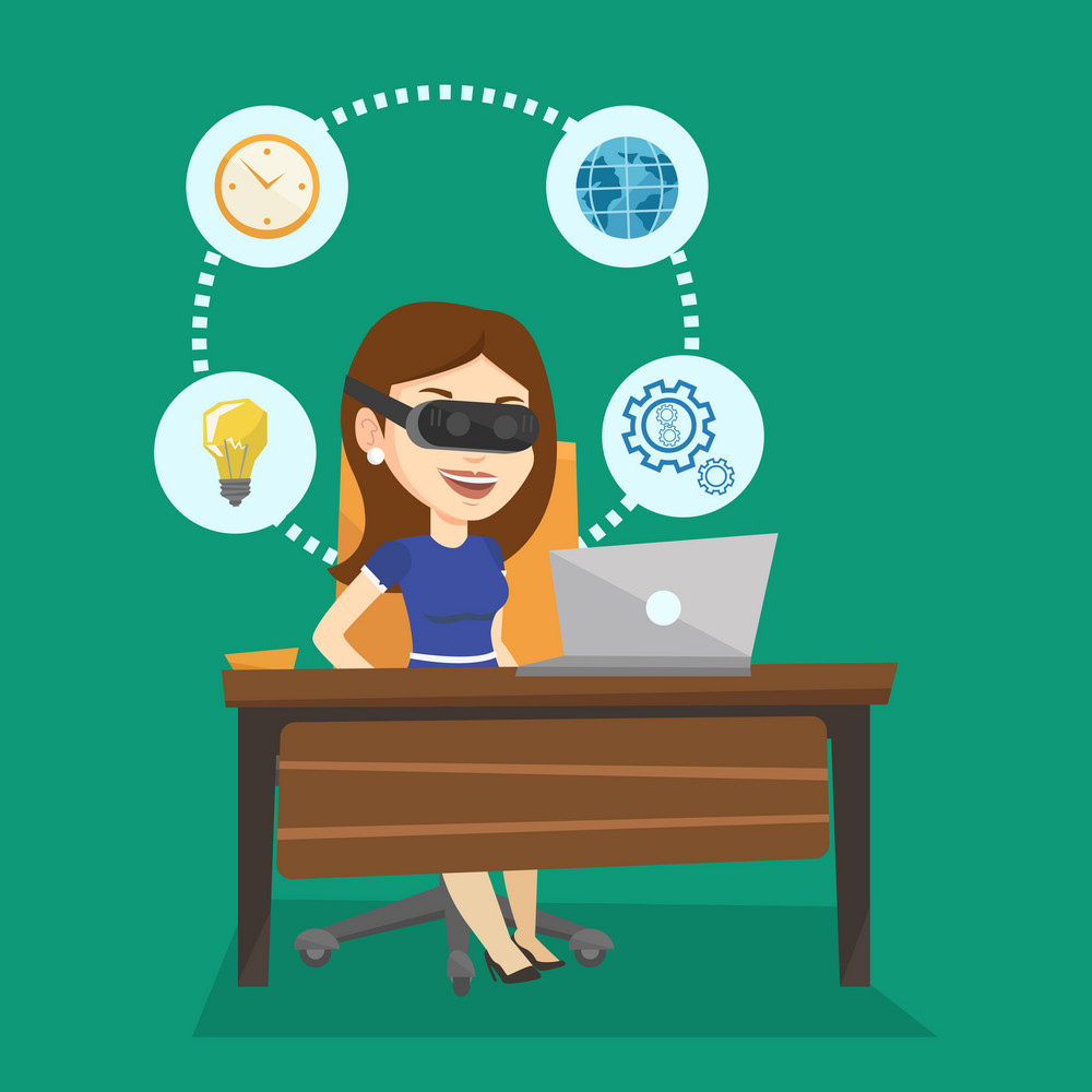 Young caucasian business woman wearing virtual reality headset and working on computer. Happy business woman using virtual reality device in office. Vector flat design illustration. Square layout.