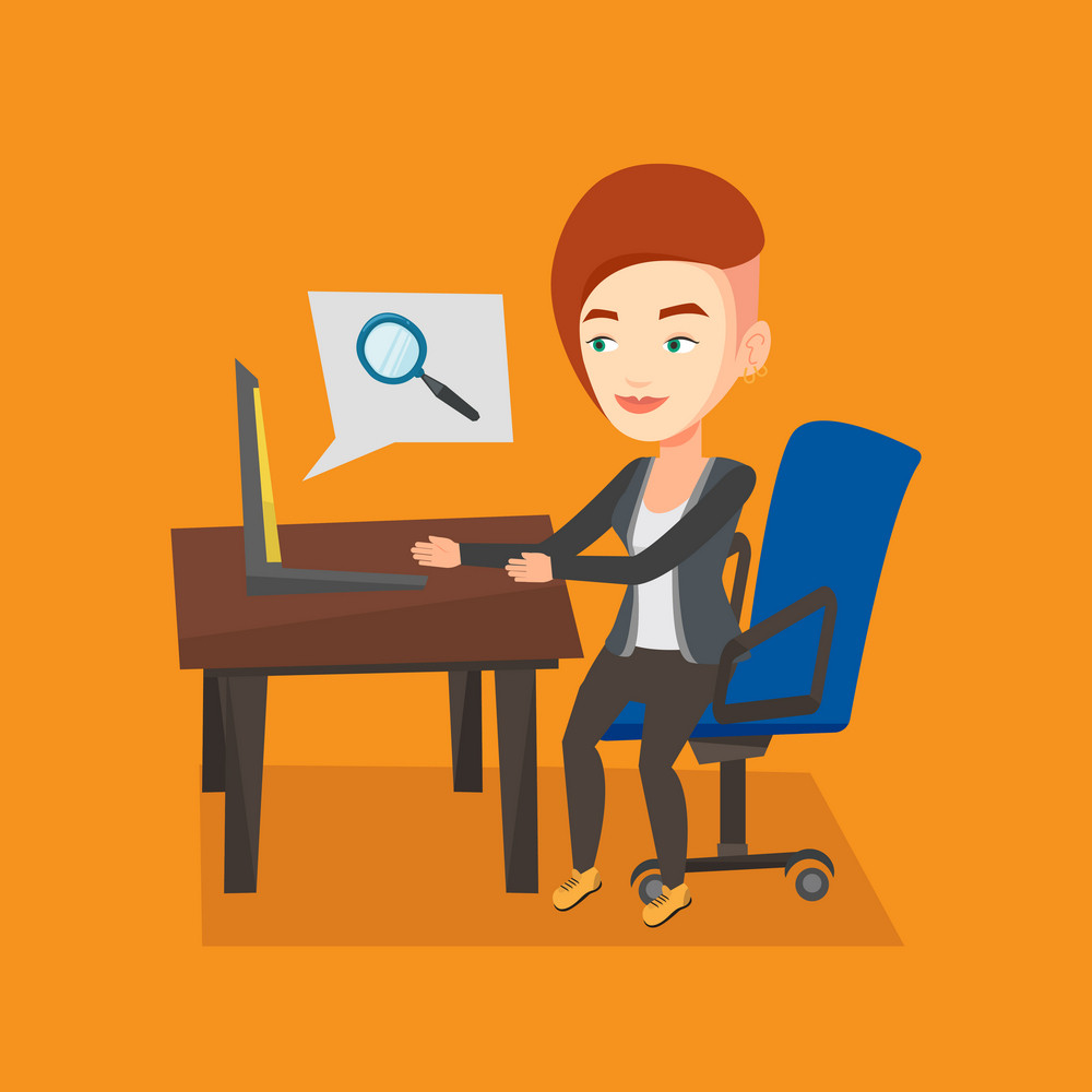 Young caucasian business woman working on her laptop in office and searching information on internet. Internet search and job search concept. Vector flat design illustration. Square layout.