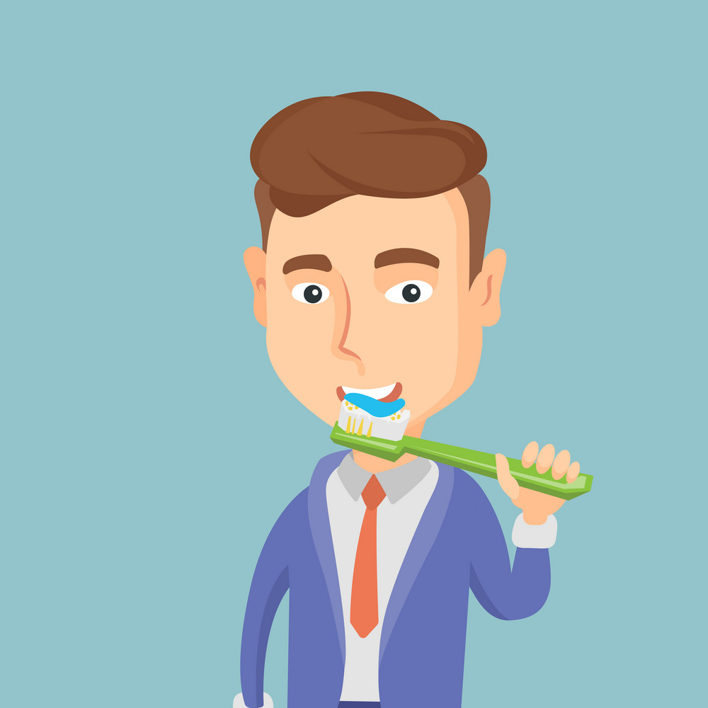 Young caucasian businessman brushing his teeth. Smiling man cleaning teeth. Cheerful man taking care of his teeth. Happy man with toothbrush in hand. Vector flat design illustration. Square layout.
