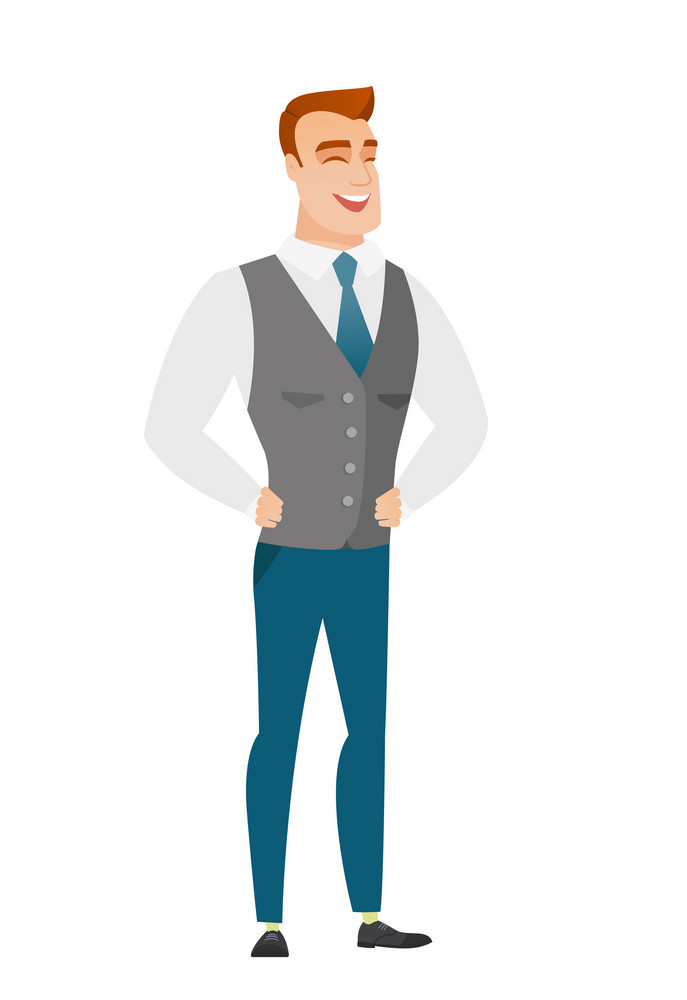 Young caucasian businessman laughing. Businessman laughing with hands on his stomach. Businessman laughing with closed eyes and open mouth. Vector flat design illustration isolated on white background
