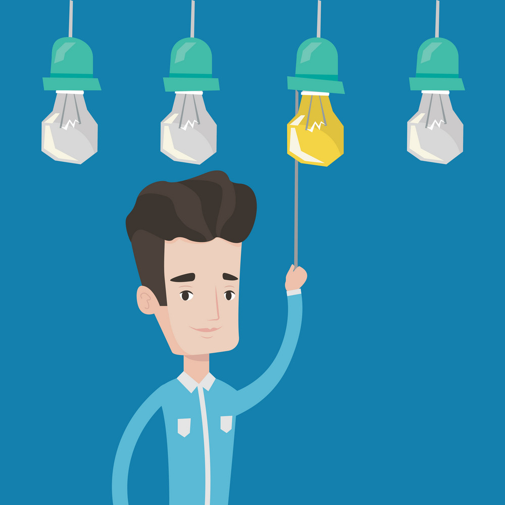 Young caucasian businessman switching on hanging light bulb. Cheerful businessman pulling a light switch. The concept of successful business Idea. Vector flat design illustration. Square layout.