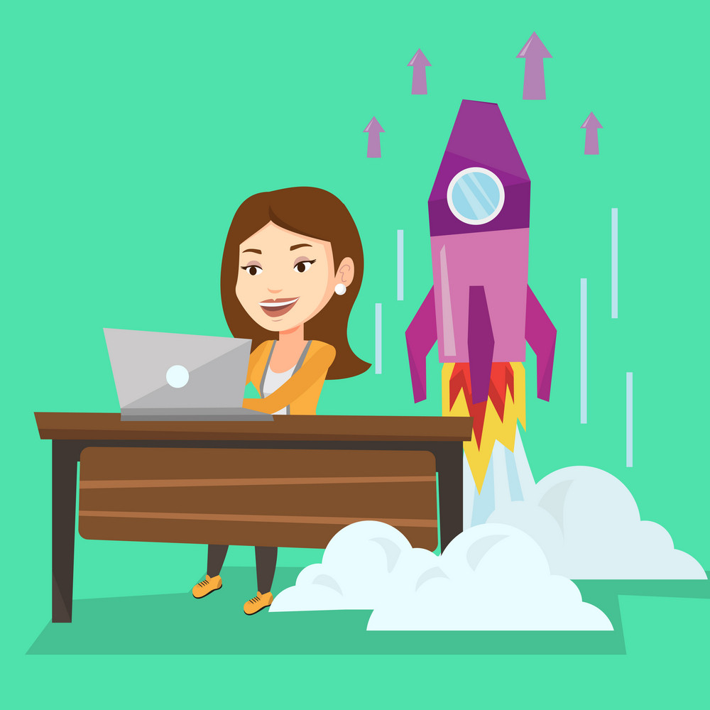 Young caucasian businesswoman working on laptop on business start up and business start up rocket taking off behind her. Business start up concept. Vector flat design illustration. Square layout.