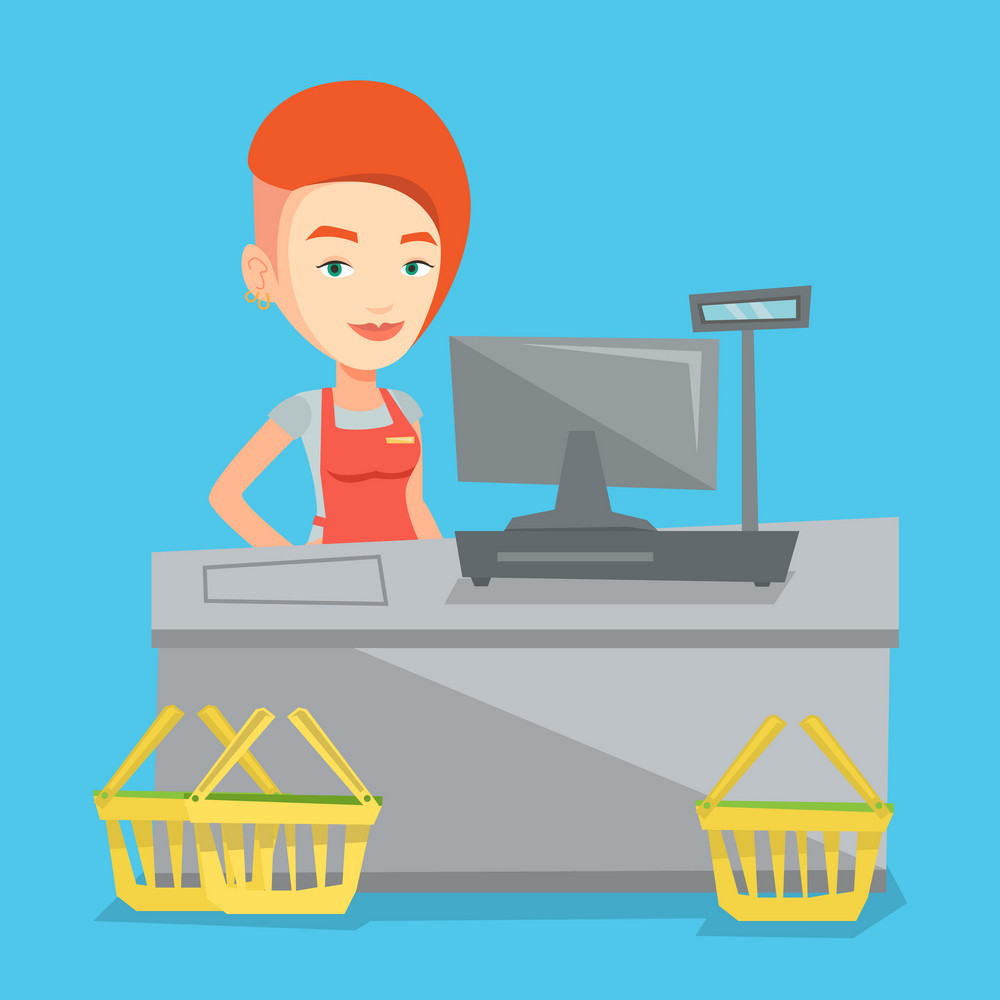 Young caucasian cashier standing at the checkout in supermarket. Cashier working at checkout in a supermarket. Cashier standing near the cash register. Vector flat design illustration. Square layout.