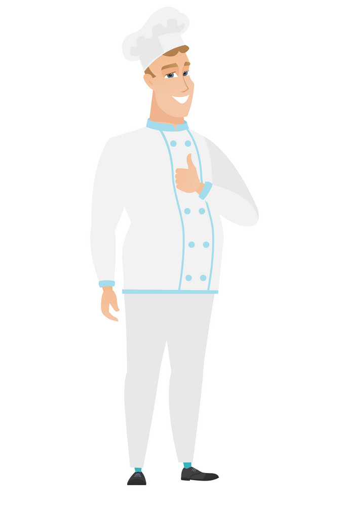 Young caucasian chef cook giving thumb up. Full length of smiling chef cook with thumb up. Cheerful chef cook in uniform showing thumb up. Vector flat design illustration isolated on white background.