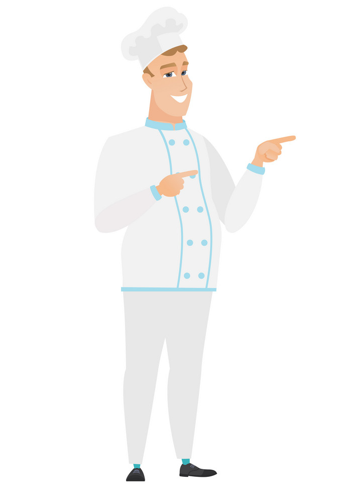 Young caucasian chef cook in uniform pointing to the side. Chef cook pointing his finger to the side. Chef cook pointing to the right side. Vector flat design illustration isolated on white background