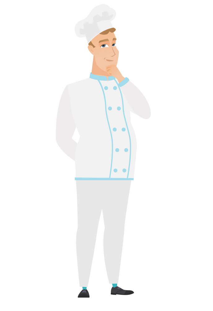 Young caucasian chef cook thinking. Full length of thinking chef cook with hand on chin. Chef cook thinking and looking to the side. Vector flat design illustration isolated on white background.