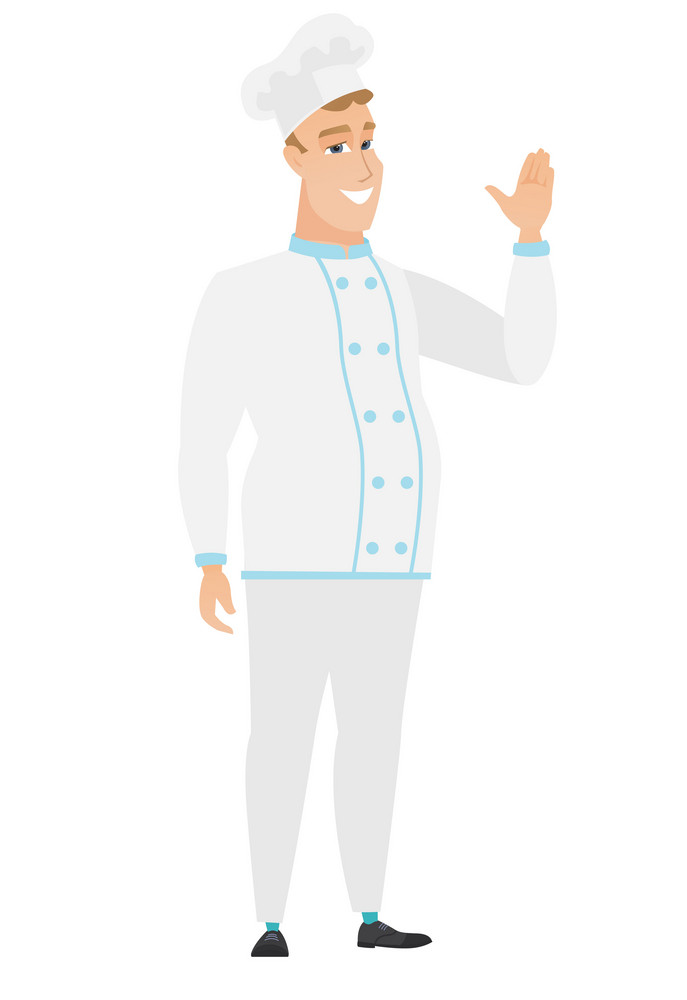Young caucasian chef cook waving his hand. Full length of chef cook waving his hand. Chef cook making greeting gesture - waving hand. Vector flat design illustration isolated on white background.