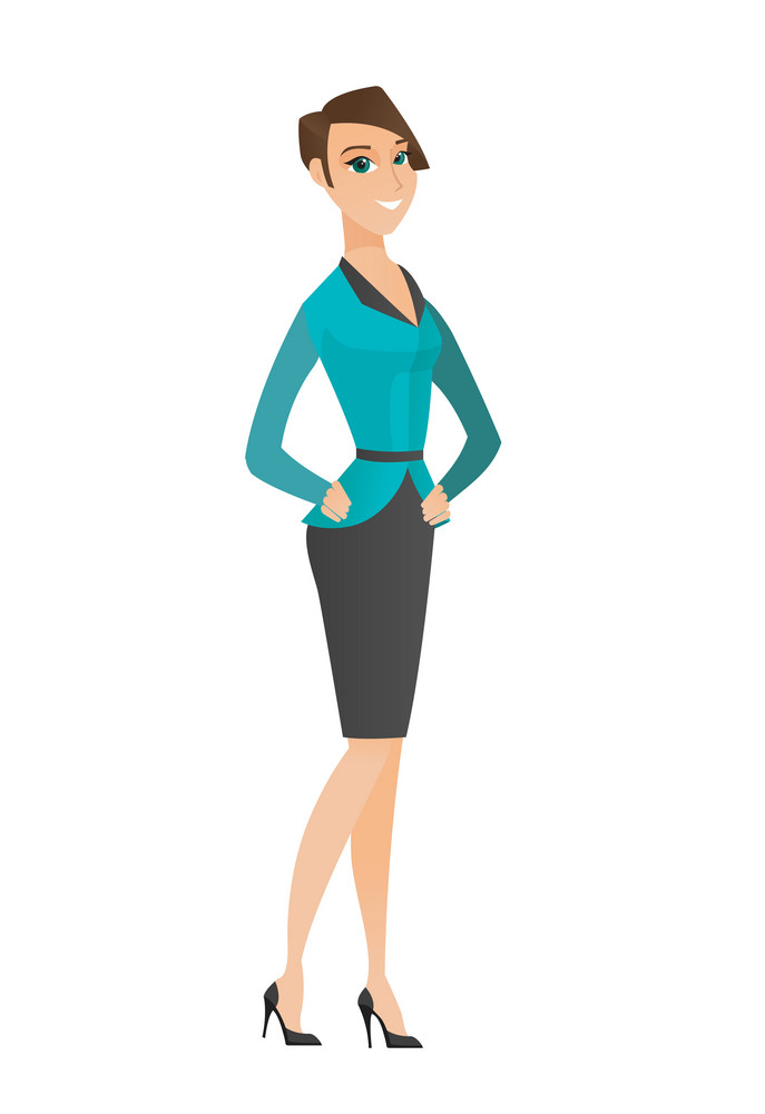 Young caucasian confident business woman. Full length of confident business woman. Business woman standing in a pose signifying confidence. Vector flat design illustration isolated on white background