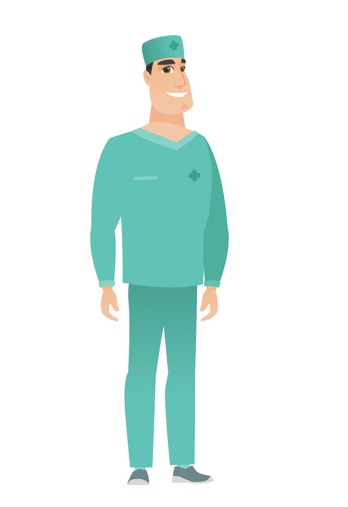 Young caucasian confident doctor in uniform. Full length of smiling confident doctor. Doctor standing in a pose signifying confidence. Vector flat design illustration isolated on white background