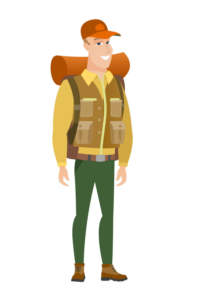 Young caucasian confident traveler. Full length of smiling confident traveler. Happy traveler standing in a pose signifying confidence. Vector flat design illustration isolated on white background.