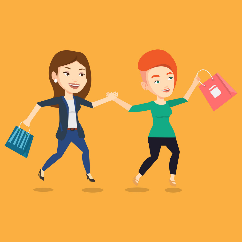 Young caucasian customers rushing to promotion and sale. People rushing on sale to the shop. Two cheerful women running in a hurry to the store on sale. Vector flat design illustration. Square layout.