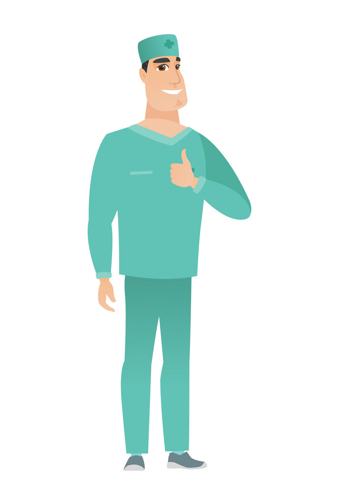 Young caucasian doctor in uniform giving thumb up. Full length of smiling doctor with thumb up. Cheerful doctor showing thumb up. Vector flat design illustration isolated on white background.