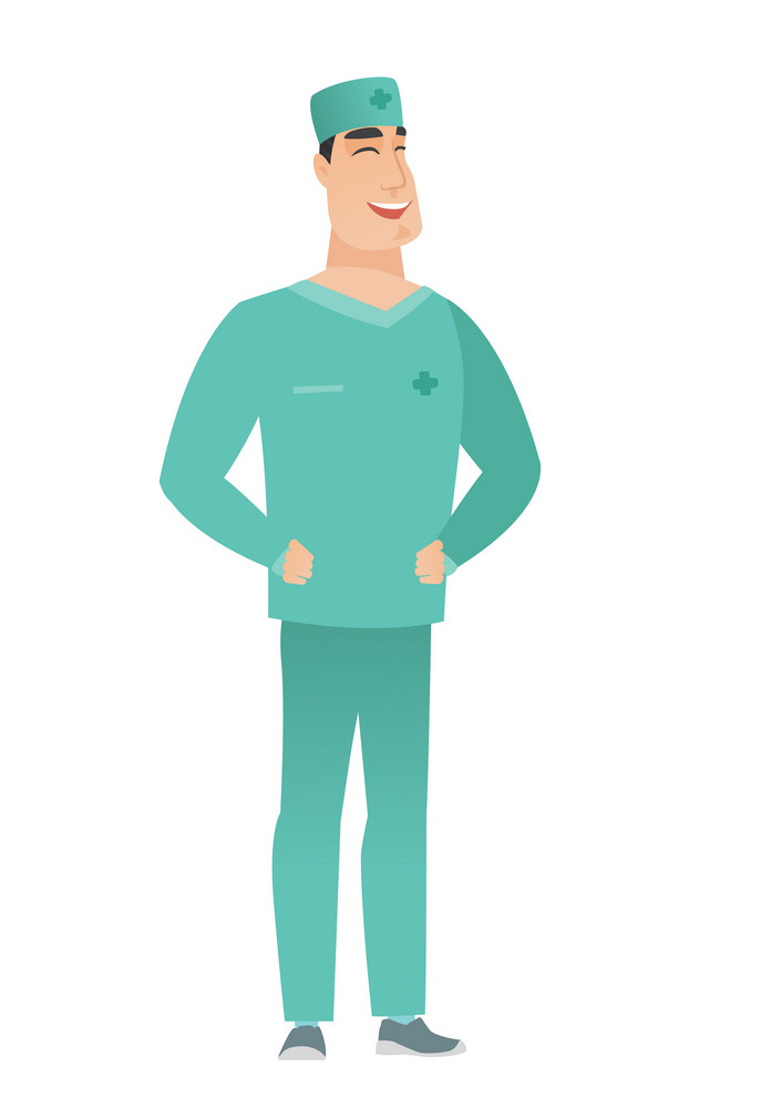 Young caucasian doctor in uniform laughing. Doctor laughing with hands on his stomach. Doctor laughing with closed eyes and open mouth. Vector flat design illustration isolated on white background.