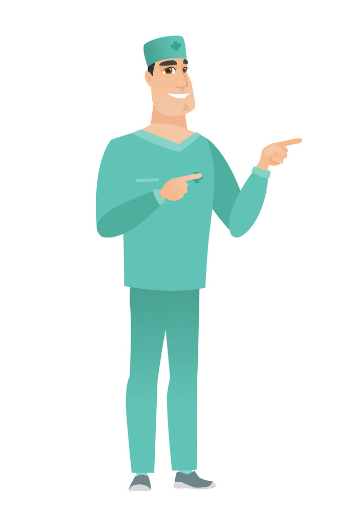 Young caucasian doctor in uniform pointing to the side. Smiling doctor pointing his finger to the side. Doctor pointing to the right side. Vector flat design illustration isolated on white background.