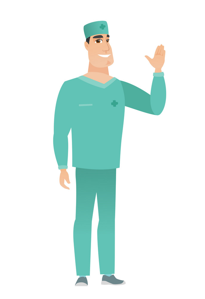 Young caucasian doctor in uniform waving hand. Full length of happy doctor waving his hand. Doctor making greeting gesture - waving hand. Vector flat design illustration isolated on white background.