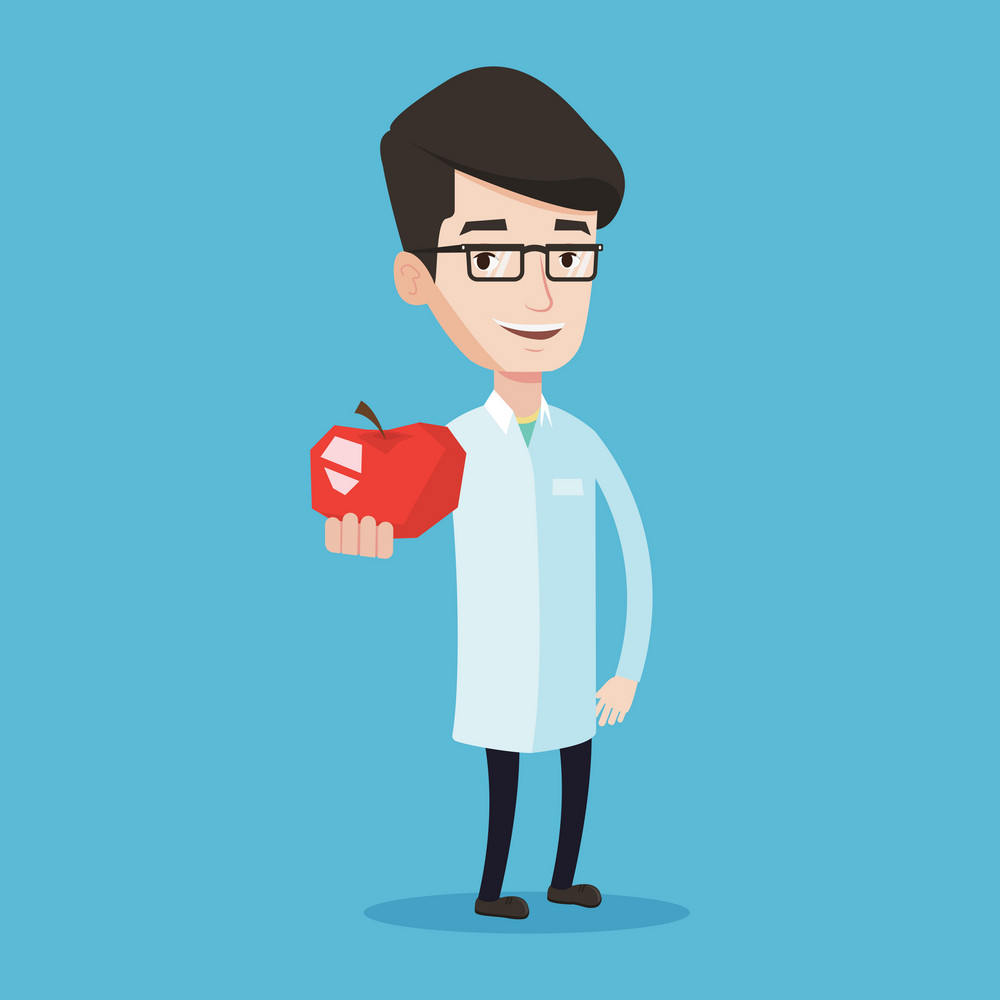 Young caucasian doctor prescribing diet and healthy eating. Smiling confident male nutritionist holding an apple. Doctor offering fresh red apple. Vector flat design illustration. Square layout.