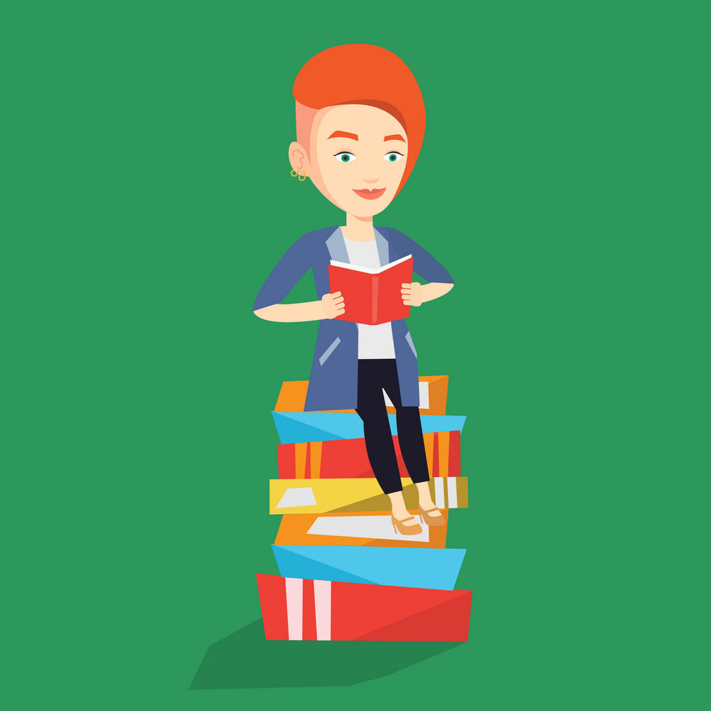 Young caucasian female student sitting on huge pile of books. Happy student reading book. Smiling woman sitting on stack of books with book in hands. Vector flat design illustration. Square layout.