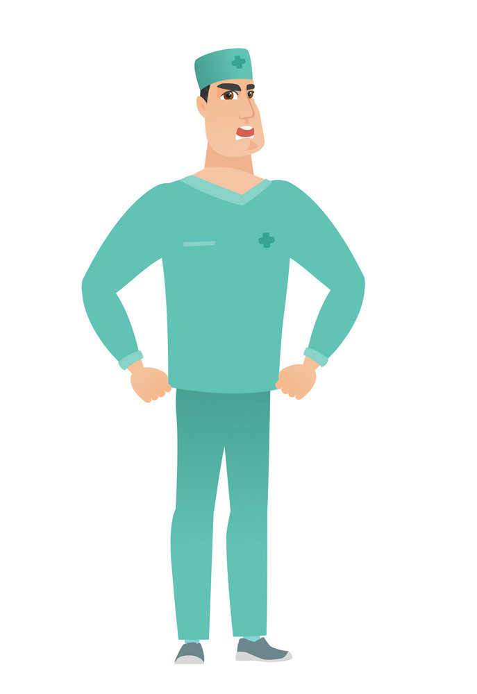 Young caucasian furious doctor in uniform screaming. Full length of furious doctor shouting. Illustration of furious doctor yelling. Vector flat design illustration isolated on white background.