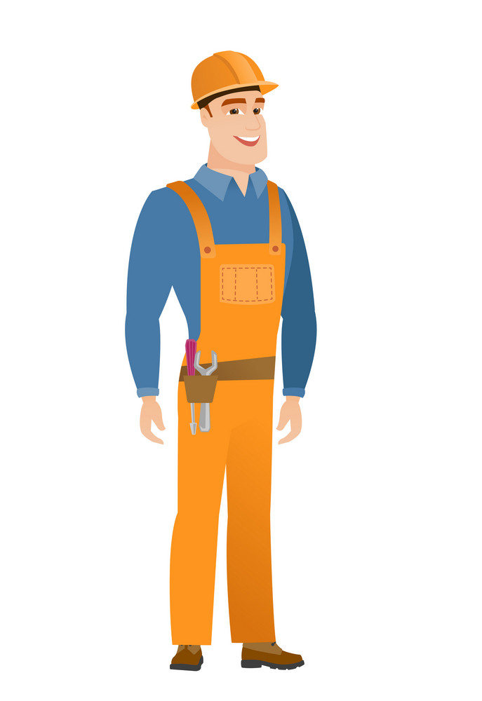 Young caucasian happy builder in hard hat and workwear. Full length of smiling happy builder posing. Illustration of happy builder. Vector flat design illustration isolated on white background.
