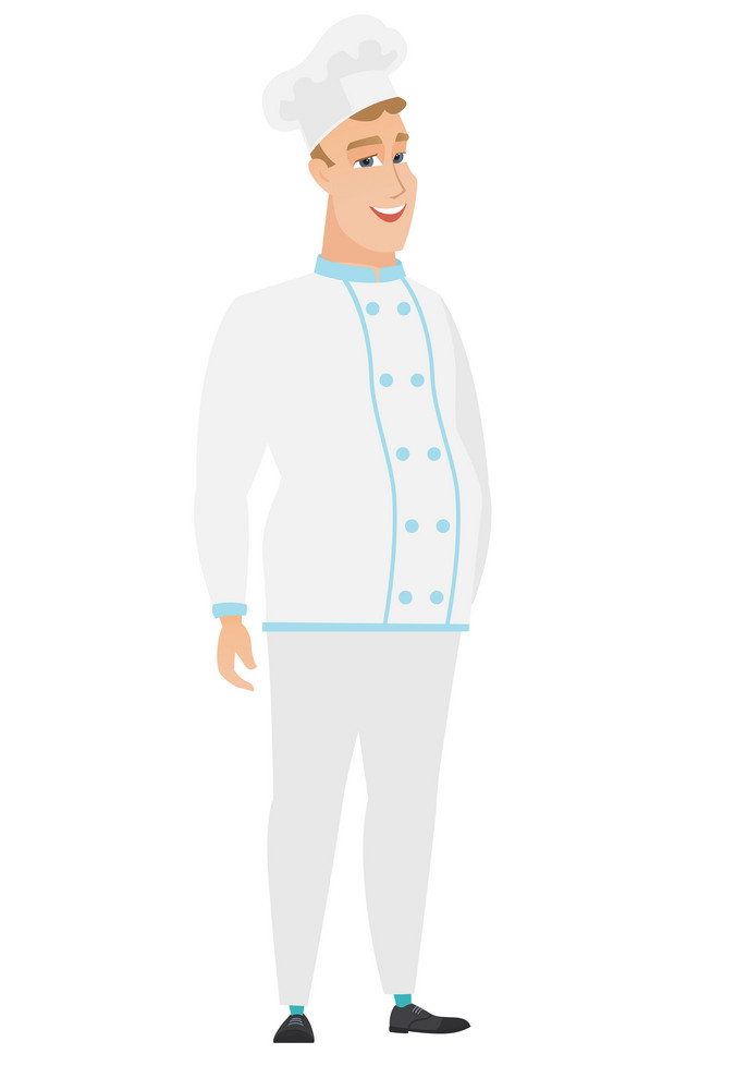 Young caucasian happy chef cook in uniform. Full length of smiling happy chef cook posing. Illustration of happy standing chef cook. Vector flat design illustration isolated on white background.