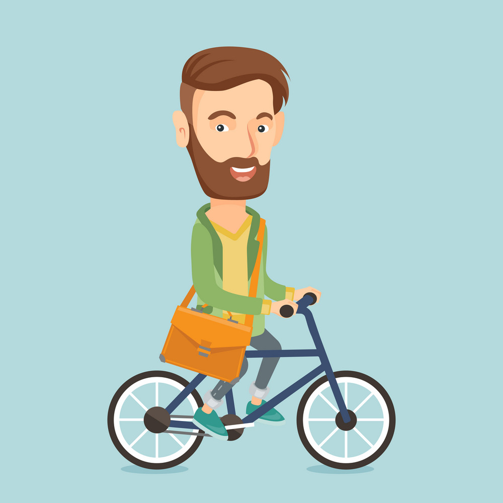 Young caucasian hipster business man riding a bicycle. Cyclist riding a bicycle. Business man with briefcase on a bicycle. Healthy lifestyle concept. Vector flat design illustration. Square layout.