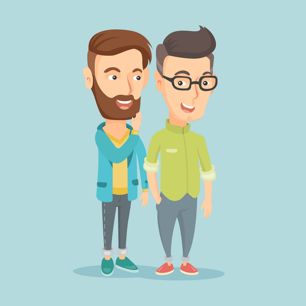Young caucasian hipster man shielding his mouth and whispering a gossip to his friend. Two happy men sharing gossips. Smiling friends discussing gossips. Vector flat design illustration. Square layout