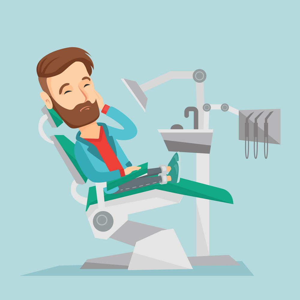Young caucasian hipster patient with beard visiting dentist because of toothache. Sad patient suffering from toothache. Man having a strong toothache. Vector flat design illustration. Square layout.