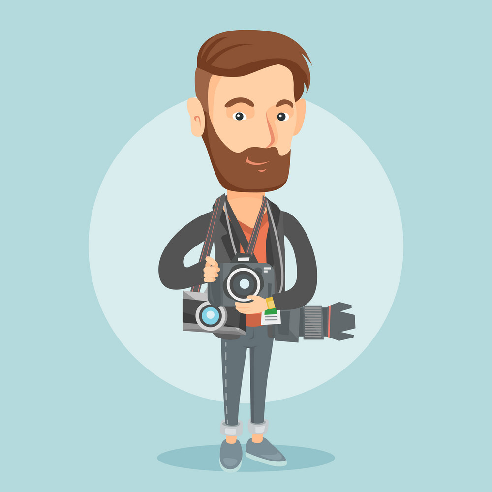 Young caucasian hipster photographer with many photo cameras equipment. Cheerful paparazzi with many cameras. Professional journalist with many cameras. Vector flat design illustration. Square layout.