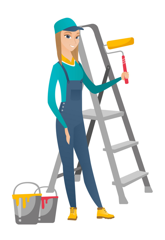 Young caucasian house painter in uniform holding paint roller in hands. Smiling house painter standing near step-ladder and paint cans. Vector flat design illustration isolated on white background.