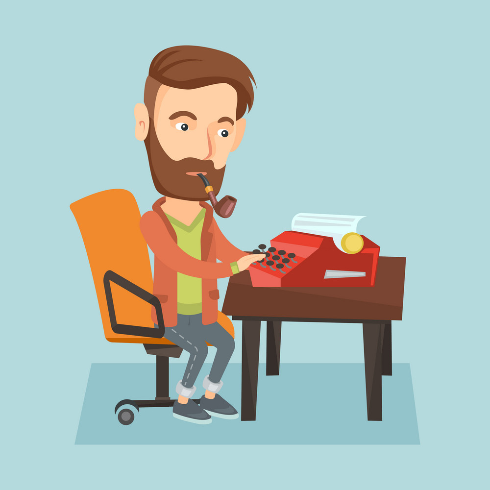 Young caucasian journalist writing an article on a vintage typewriter and smoking pipe. Concentrated hipster journalist working on retro typewriter. Vector flat design illustration. Square layout.