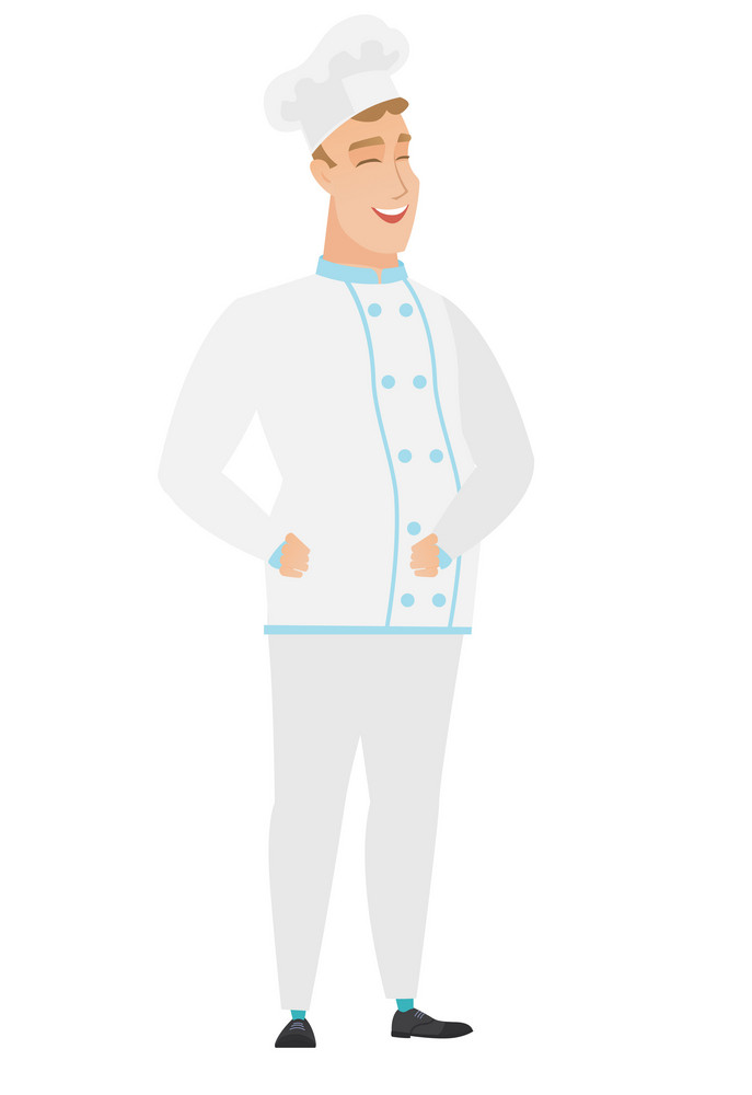 Young caucasian male chef cook laughing. Chef cook laughing with hands on his stomach. Chef cook laughing with closed eyes and open mouth. Vector flat design illustration isolated on white background