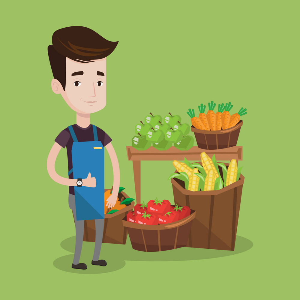 Young caucasian male supermarket worker giving thumb up while standing on the background of shelves with vegetables and fruits in supermarket. Vector flat design illustration. Square layout.