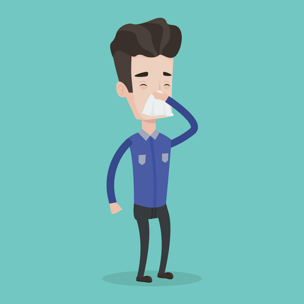 Young caucasian man blowing his nose to paper napkin. Sick man sneezing. Unwell man having an allergy and blowing his nose to a tissue. Vector flat design illustration. Square layout.