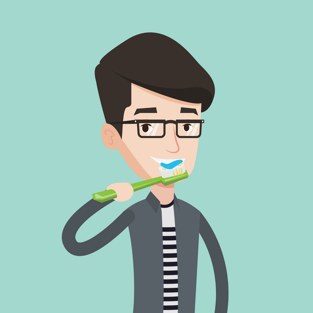 Young caucasian man brushing his teeth. Smiling man cleaning teeth. Man with toothbrush in hand. Vector flat design illustration. Square layout.