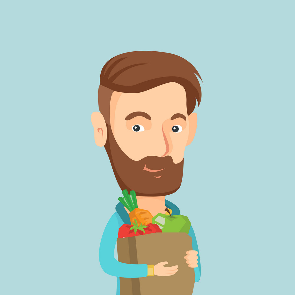 Young caucasian man carrying grocery shopping bag with vegetables. Man holding grocery shopping bag with healthy food. Man with grocery shopping bag. Vector flat design illustration. Square layout.