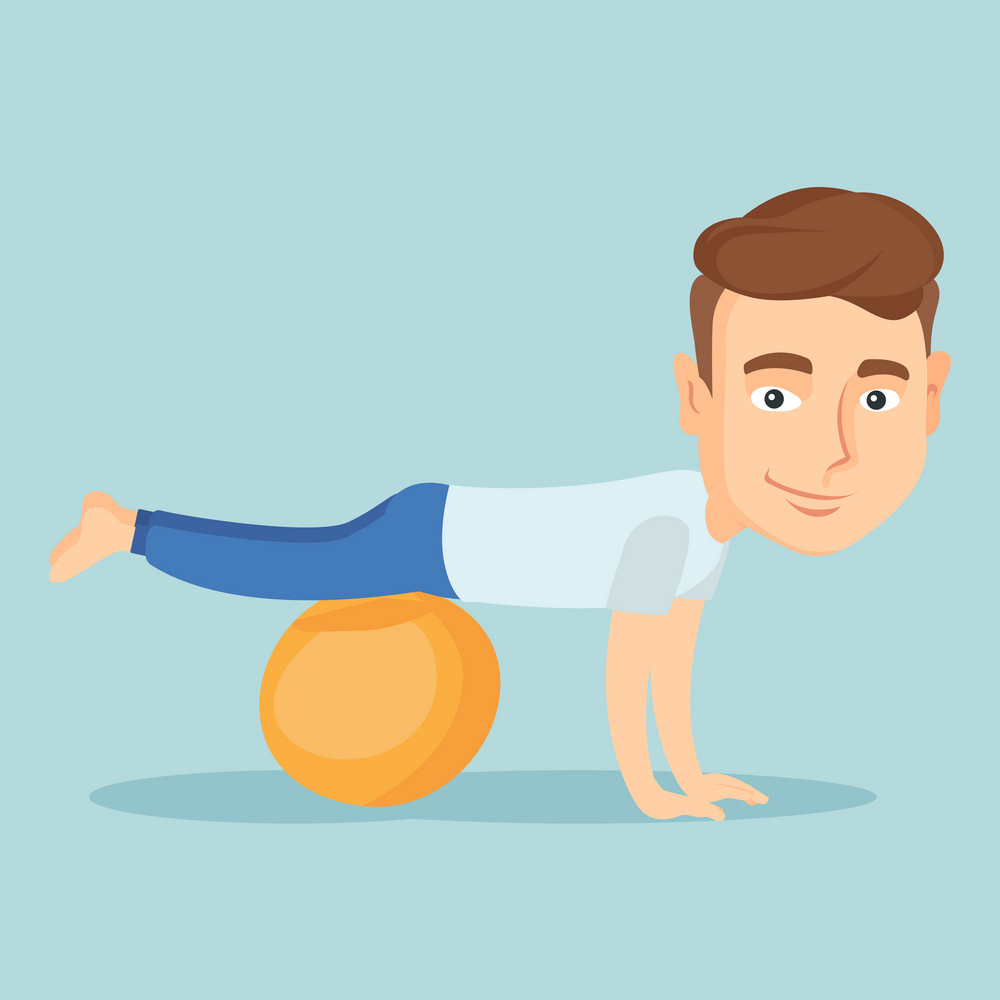 Young caucasian man exercising with fitball. Smiling man training triceps and biceps while doing push ups on fitball. Man doing exercises on fitball. Vector flat design illustration. Square layout