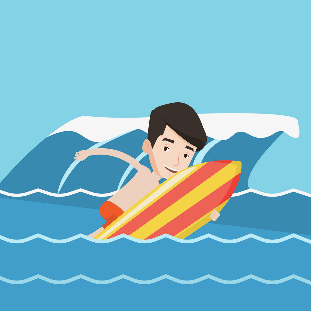 Young caucasian man having fun during execution of a move on a blue ocean wave. Happy surfer in action on a surf board. Lifestyle, water sport concept. Vector flat design illustration. Square layout.