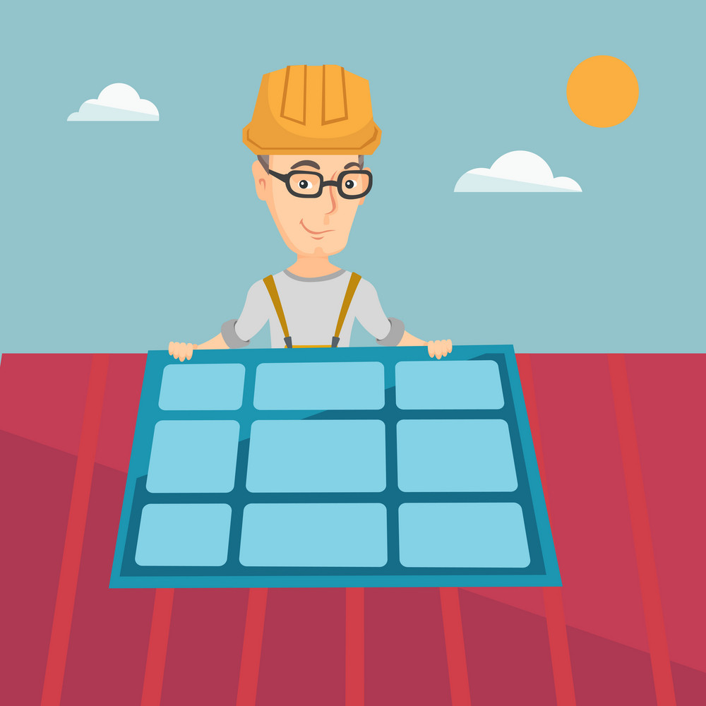 Young caucasian man installing solar panels on roof. Technician in uniform and hard hat checking solar panel on roof. Engineer adjusting solar panel. Vector flat design illustration. Square layout.