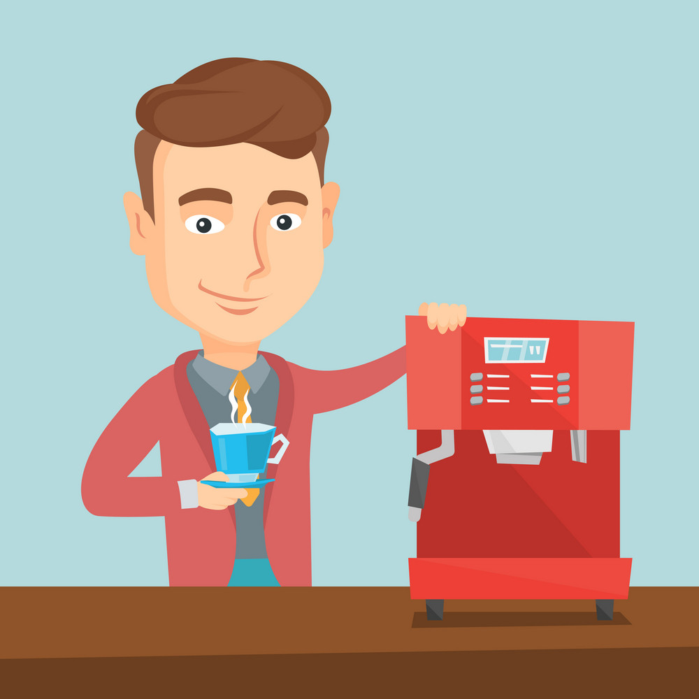 Young caucasian man making coffee with a coffee-machine. Man holding cup of hot flavoured coffee in hand. Smiling man standing beside a coffee machine. Vector flat design illustration. Square layout.