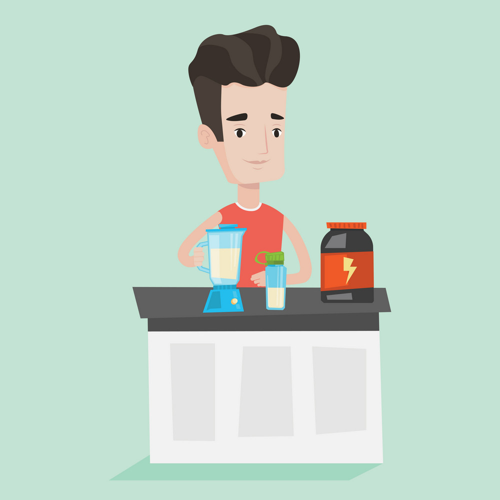 Young caucasian man making protein shake using blender. Man preparing cocktail of bodybuilding food supplements. Sports nutrition and lifestyle concept. Vector flat design illustration. Square layout.