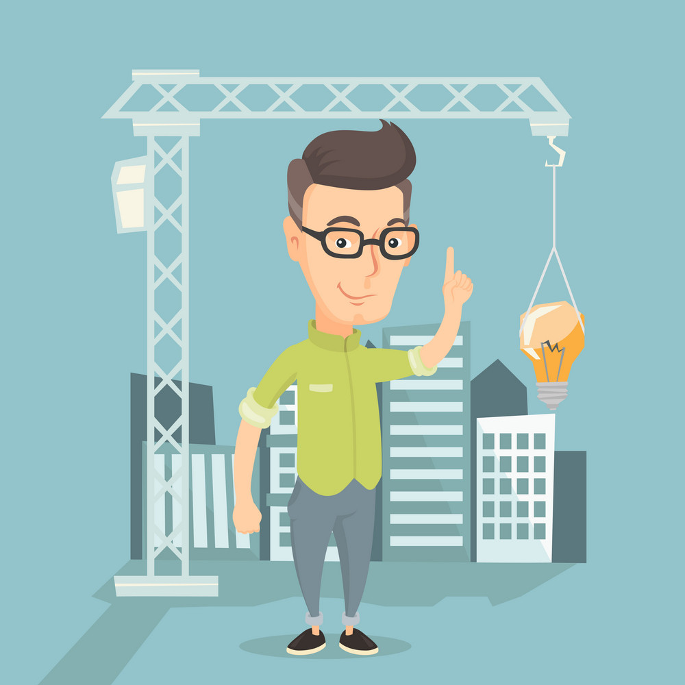 Young caucasian man pointing at idea light bulb hanging on crane. Architect having idea in town planning. Concept of new ideas in architecture. Vector flat design illustration. Square layout.