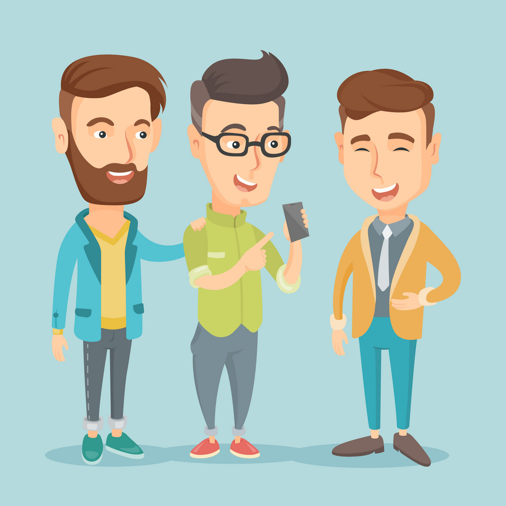Young caucasian man showing something to his friends on his smartphone. Three happy friends looking at smartphone and laughing. Man using smartphone. Vector flat design illustration. Square layout.