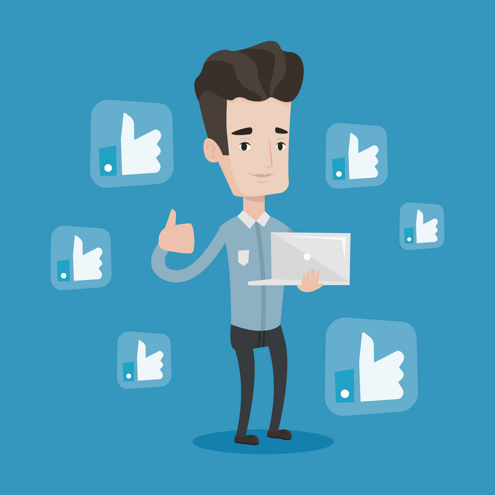 Young caucasian man showing thumb up and like social network buttons around him. Happy man with laptop and like social network buttons with thumb up. Vector flat design illustration. Square layout.