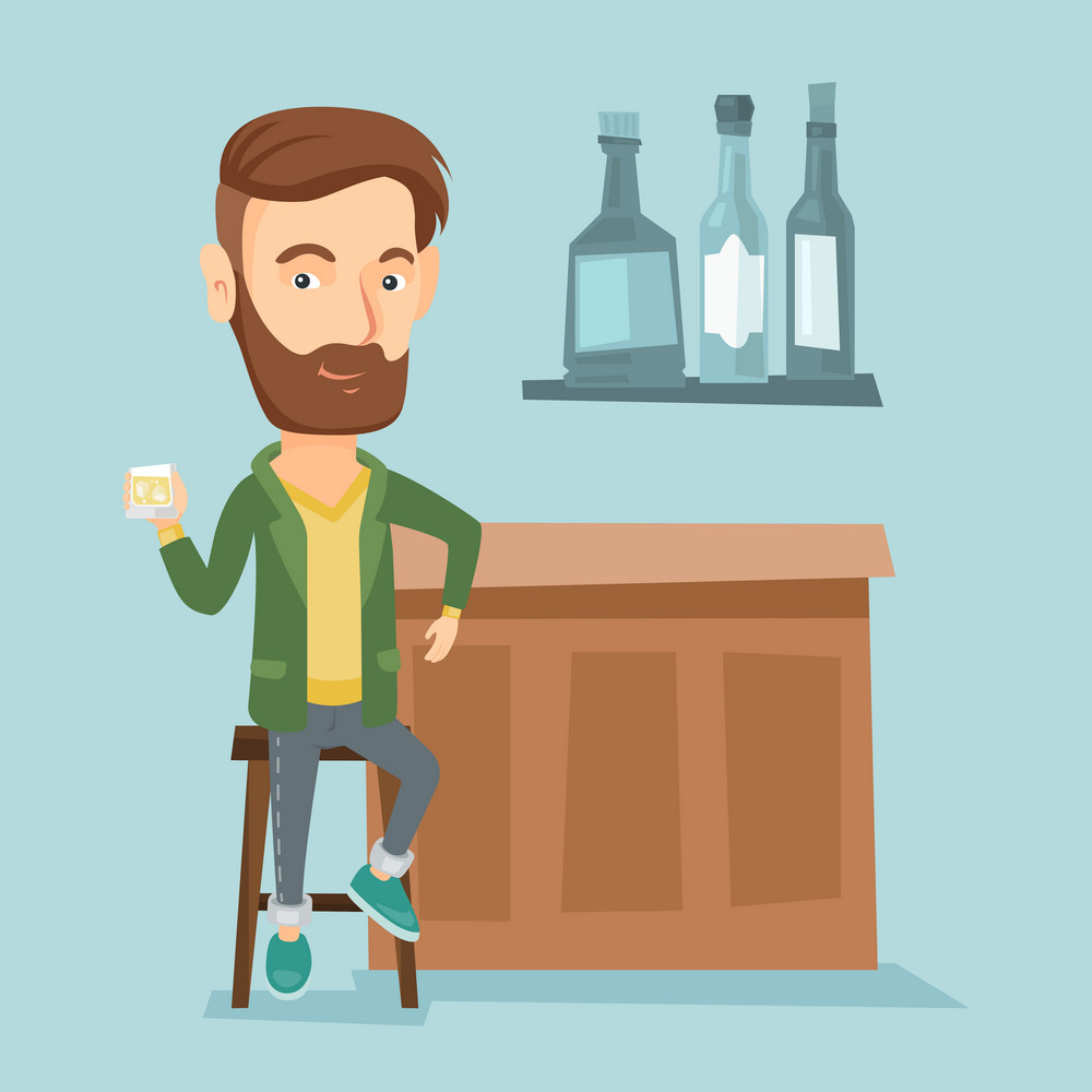 Young caucasian man sitting at the bar counter. Man sitting with glass in bar. Cheerful man sitting alone and celebrating with an alcohol drink in bar. Vector flat design illustration. Square layout.