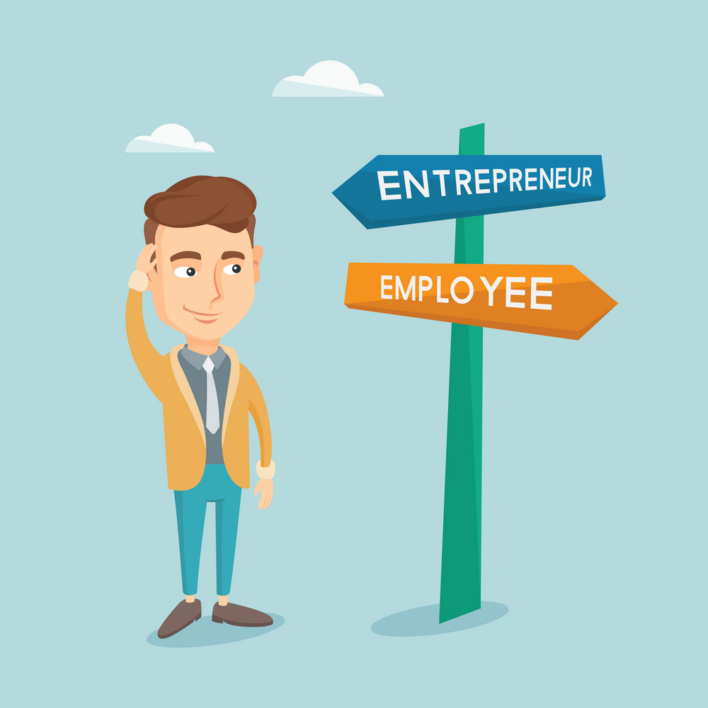 Young caucasian man standing at road sign with two career pathways - entrepreneur and employee. Man choosing career way. Man making a decision of career. Vector flat design illustration. Square layout