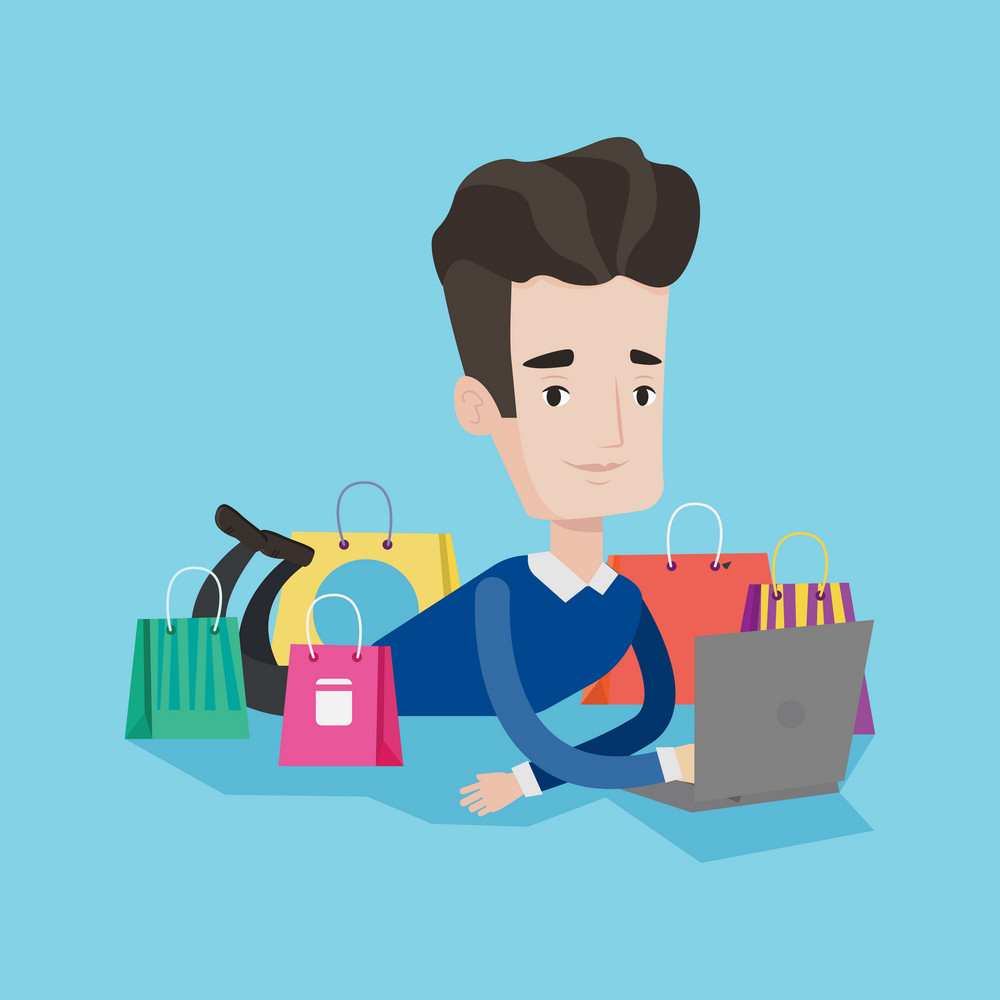 Young caucasian man using laptop for shopping online. Smiling customer lying with laptop and shopping bags around him. Man doing online shopping. Vector flat design illustration. Square layout.